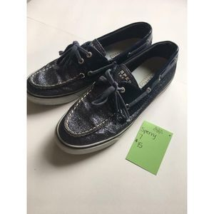 Blue Glitter Sperry Top Sider Boat Shoes Women's 7